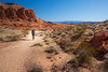 Valley of Fire, Fire Wave - Woman hiking through sagebrush