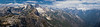 North Cascades, Thornton Lakes - Panorama from summit of Trappers including Thornton Lakes, Triumph, Despair, and the Pickets