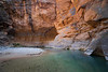 Zion, The Narrows - Colorful alcove and river near river bend