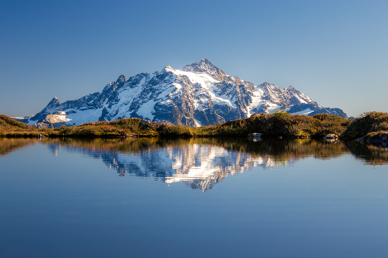 Whatcom, Yellow Aster Butte - Mt. Shuksan reflected in small tarn