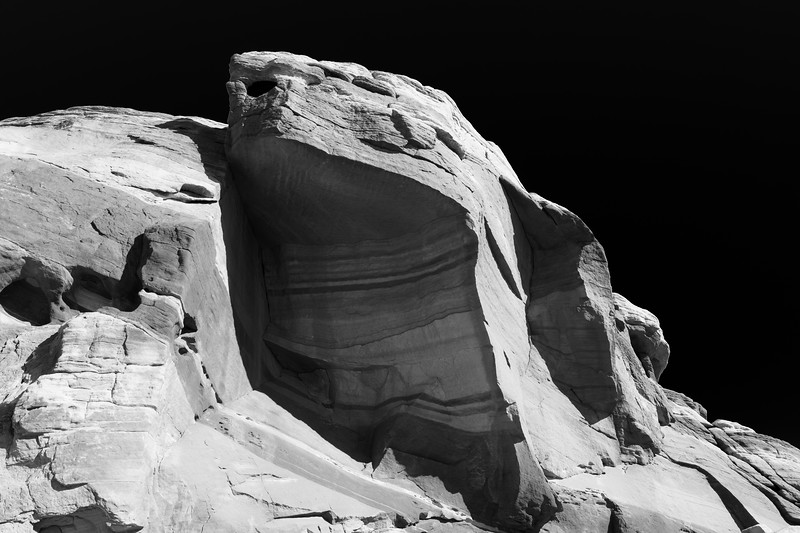 Valley of Fire, Fire Wave - Sandstone alcove in black and white