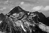 North Cascades, Thornton Lakes - Mt. Despair with foreground ridges, black and white