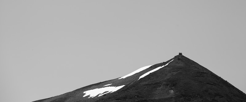 Rainier, Grand Park - Mt. Fremont Lookout in the distance, black and white