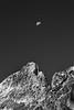 Rainy Pass, Cutthroat Pass - Half moon over Porcupine Peak, black and white