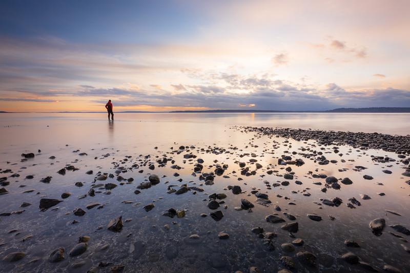 Edmonds, Marina Beach Park - Man standing in calm water at sunset