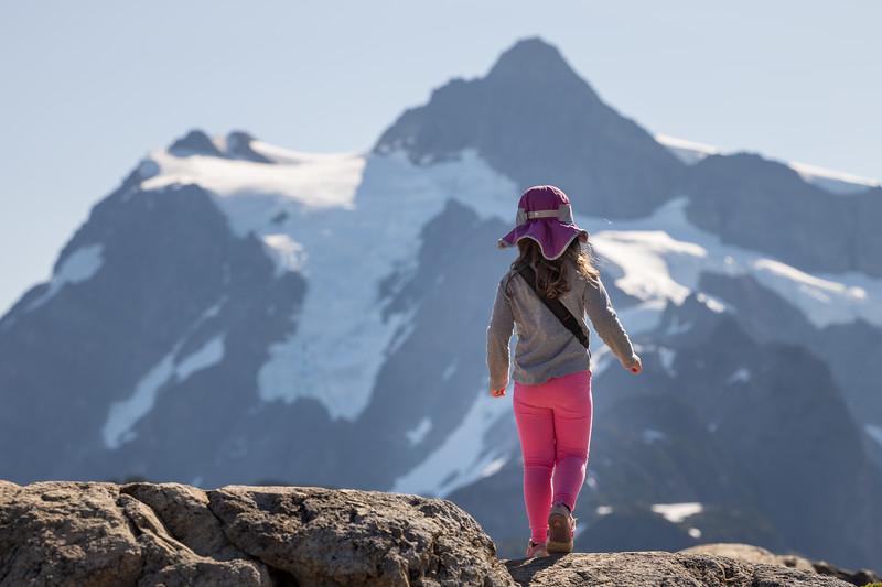 Whatcom, Artist Point - Little girl on ridge approaching Mt. Shuksan