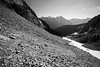 Rainy Pass, Easy Pass - Looking back down trail, black and white