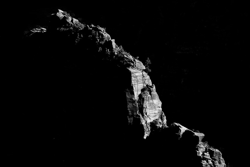 Zion, Angel's Landing - Distant ridge lit by sun, black and white