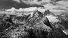 North Cascades, Thornton Lakes - View from summit of Trappers Peak, black and white