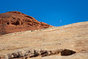 Valley of Fire, White Domes Loop - Moon rising over colorful rock features