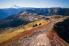 Whatcom, Yellow Aster Butte - View alongside cliff feature towards lake basin and Baker