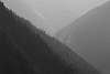 North Cascades, Cascade Pass - Intersecting ridge lines against the sun, black and white