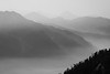 North Cascades, Thornton Lakes - Smoke and haze on a series of ridges with foreground ridge, black and white