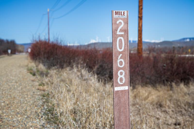 Kittitas, Thorp - Mileage marker on Palouse to Cascade Trail