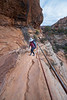 Zion, Canyon Overlook - Woman turning corner on switchback