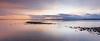 Edmonds, Marina Beach Park - Colorful sunset and sand bar in long exposure, panoramic