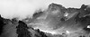 Whatcom, Excelsior - Foggy basin with talus and trees, black and white