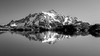 Whatcom, Yellow Aster Butte - Mt. Shuksan reflected in small tarn, black and white