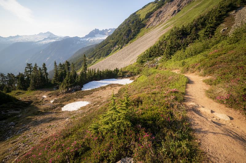 North Cascades, Cascade Pass - Trail descending through wildflowers and boulder field
