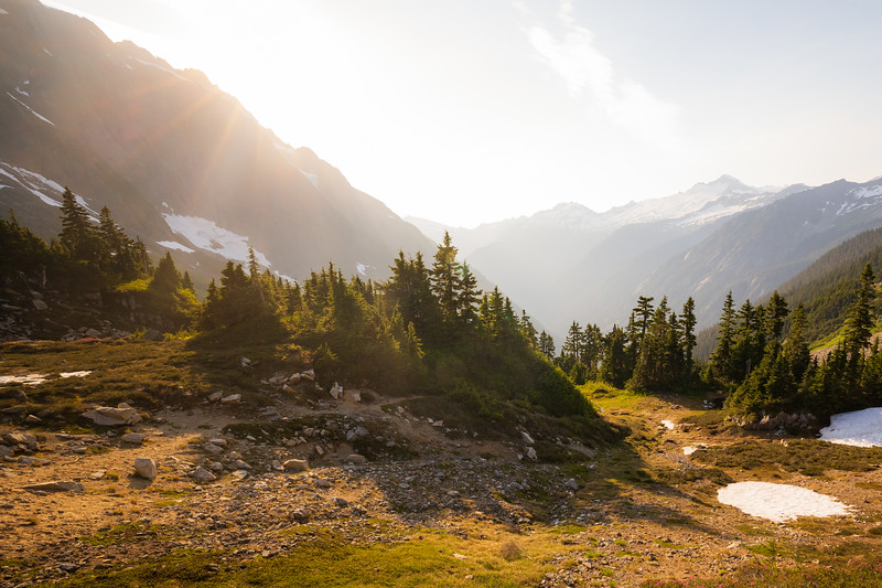 North Cascades, Cascade Pass - Sunbeams above a small group of trees at head of valley