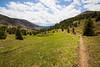 Pasayten, Horseshoe Basin - Hiker descending Sunny Pass on a beautiful day