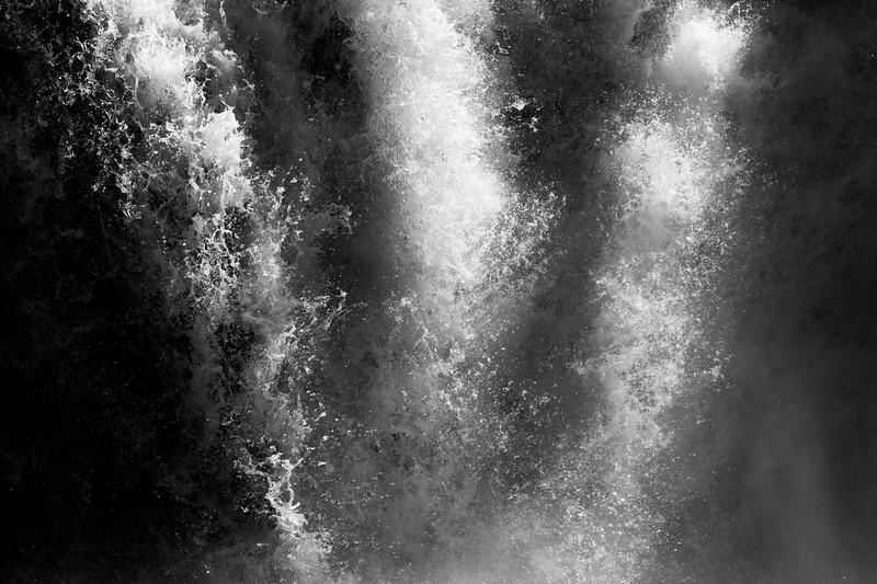 Western, Kootenai Falls - Three shafts of light created by falling water, black and white