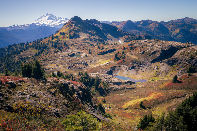 Whatcom, Yellow Aster Butte - Aerial view of Lake Basin below Yellow Aster Butte with Mt. Baker in background