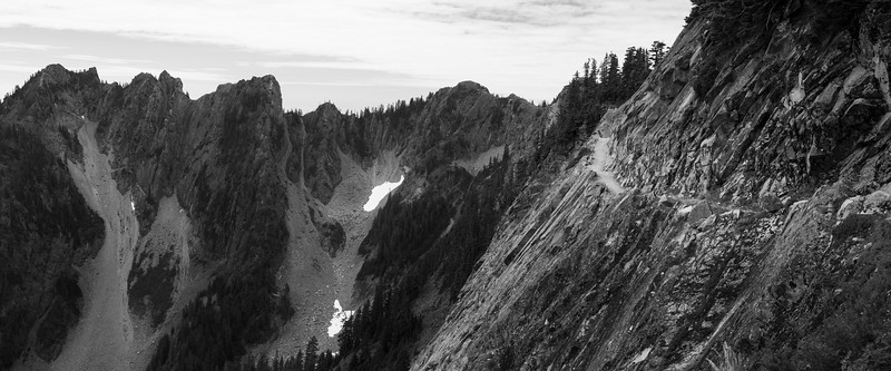 Snoqualmie Pass, PCT North - PCT traversing Kendall Katwalk, black and white