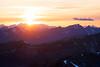 Harts Pass, Slate Peak - Sun setting behind distant peaks