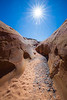 Valley of Fire, Pink Canyon - Short sides of canyon with sun