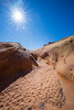 Valley of Fire, Pink Canyon - Sandy floor at end of slot canyon