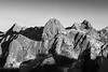 Rainy Pass, Cutthroat Pass - Alpenglow on peaks from above Cutthroat Pass, black and white