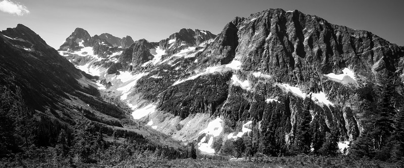 Rainy Pass, Easy Pass - View of Fisher Creek valley from the pass, black and white