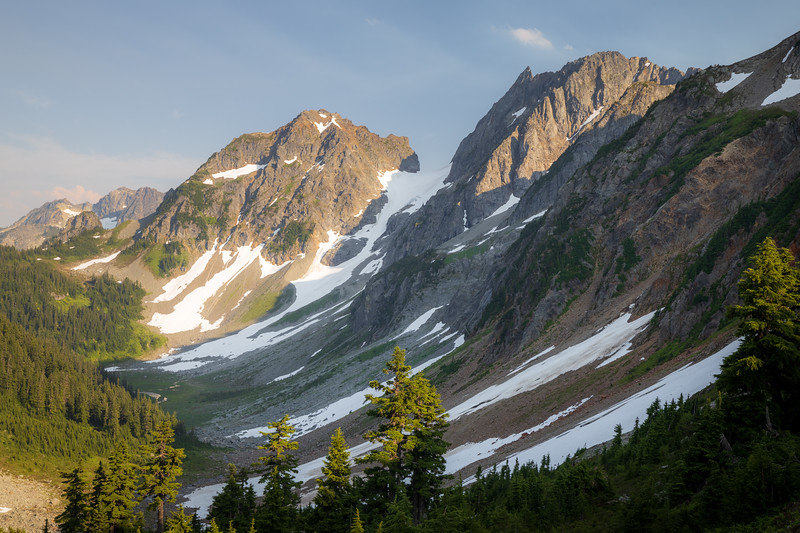 North Cascades, Cascade Pass - View from pass down valley towards Stehekin, up canyon