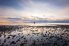 Edmonds, Marina Beach Park - Man standing in tide pool with lots of pebbles at sunset