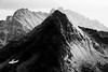 Rainy Pass, Cutthroat Pass - Hinkhouse Peak in black and white with heavy rain behind