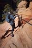 Zion, Angel's Landing - Woman descending chains on corner