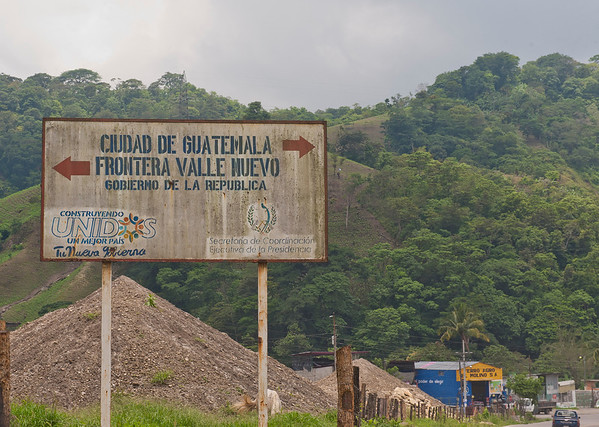 Road sign near the Guatemala/El Salvador border.