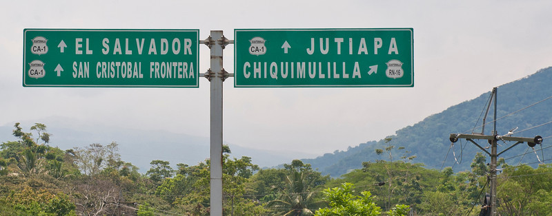 Road sign, southern Guatemala.