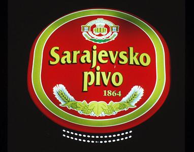 Sarajevo, Bosnia, beer sign.