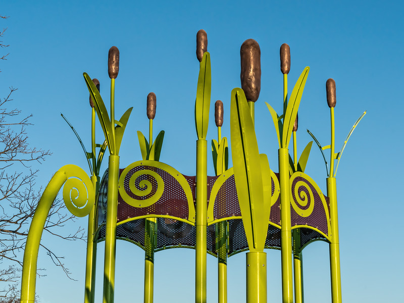 Cattail motif on playground structure