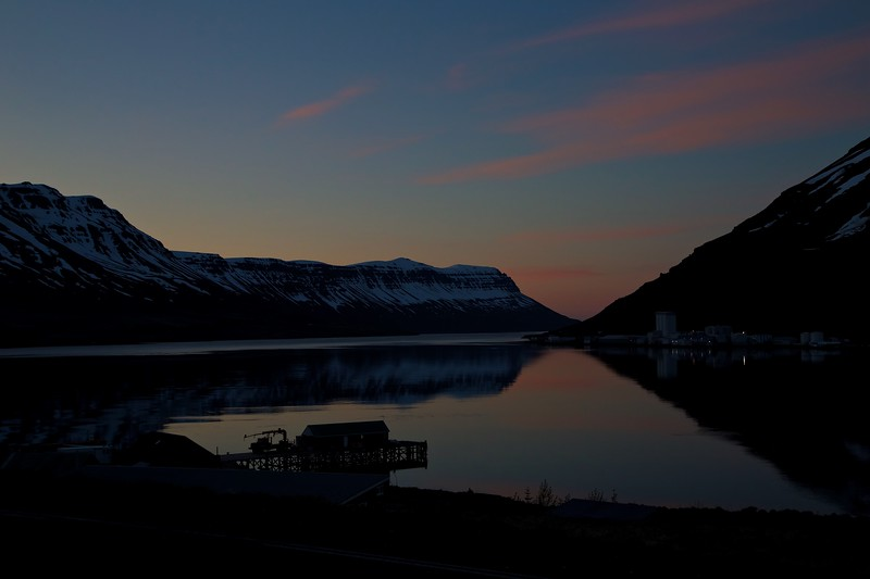 Seyđisfjörđur at midnight on the first of June.