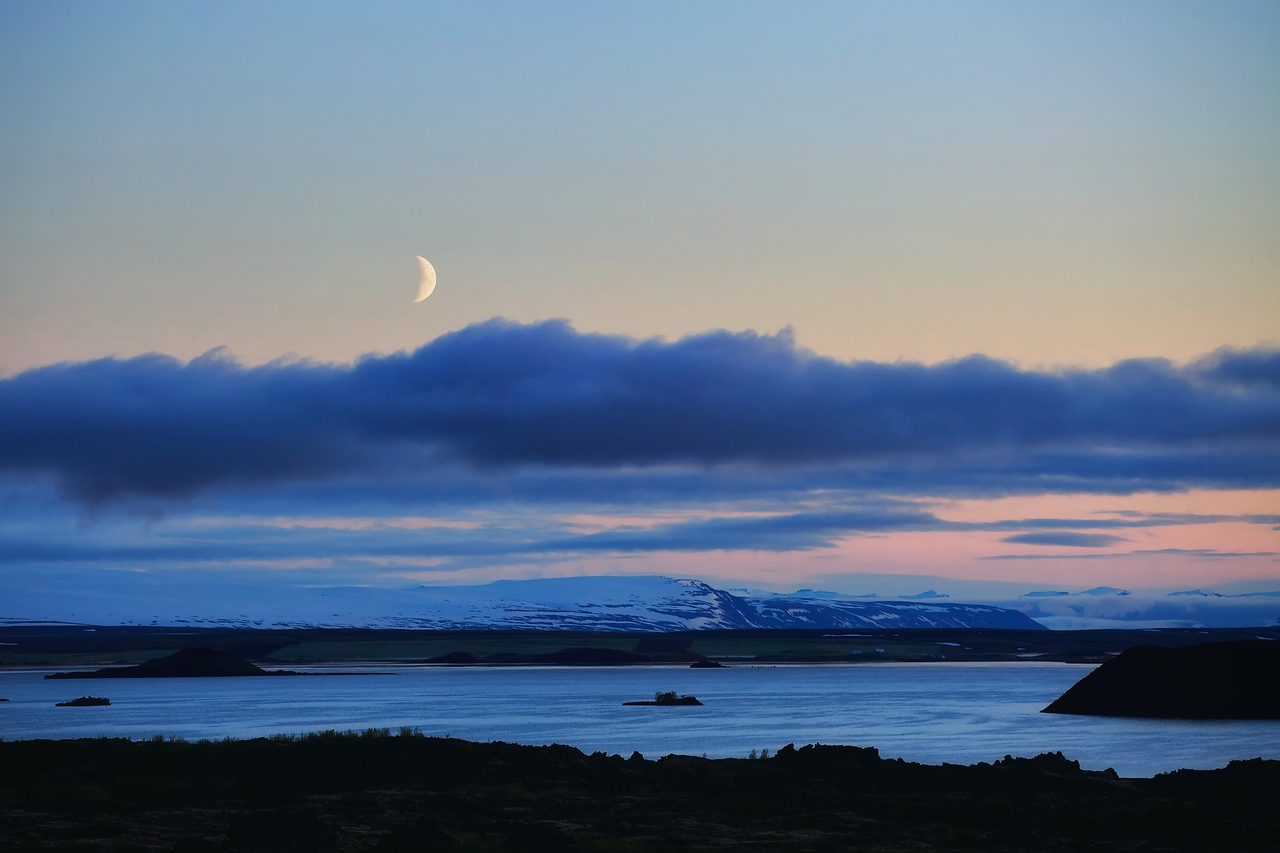 Moon over Mývatn