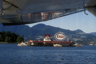 Marine gas station from seaplane, Vancouver, Canada.
