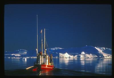 Midnight cruise on Disko Bay, Greenland.