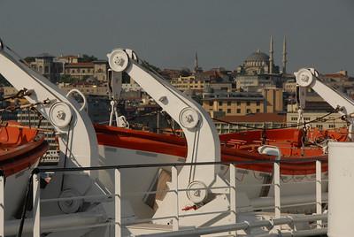 From the deck of the Ukrainian ship m/v Yuzhnaya Palmyra, a view across to Karakoy pier, Istanbul.