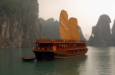Tour boat in Halong Bay, Vietnam.