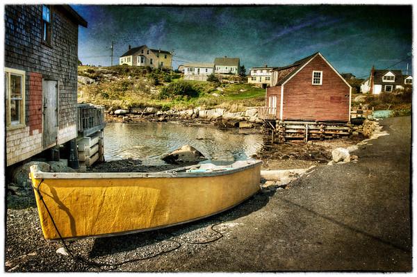Peggy's Cove, Nova Scotia, Canada Boat #2 - HDR - texturized. Texture thanks to SkeletalMess.