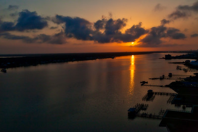 Sunrise over Little Lagoon in Gulf Shores, Alabama