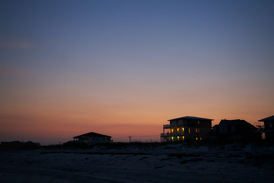 Long after sundown along the beach in Gulf Shores, Alabama
